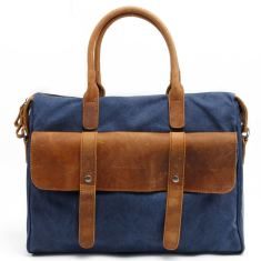 Blue Canvas shoulder bag with leather handle