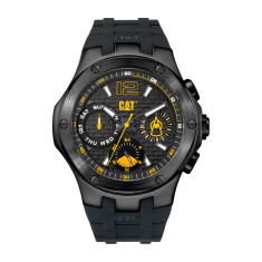 CAT NAVIGO MULTI dial Dual Time Watch in Gun Metal Stainless Steel & Black Rubber Band