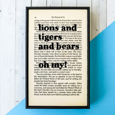 Wizard of Oz lions and tigers and bears - book page print