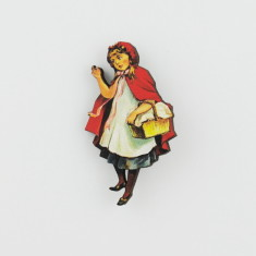 Little red riding hood wood brooch