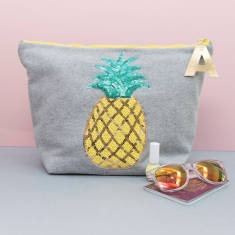 Pineapple Motif Personalised Zip Pouch Bag