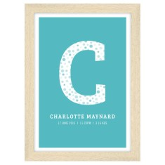 Personalised girls initial birth print (own colour)