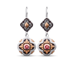 Isobella Sterling Silver & Gold Vermeil Garnet Drop Earrings