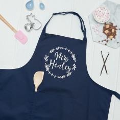 Personalised Mrs Wreath Kitchen Apron