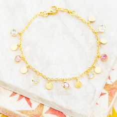 Sweetie Disc Charm Bracelet In Gold Plate