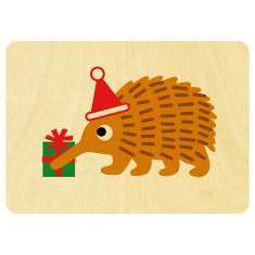 Christmas echidna wooden card