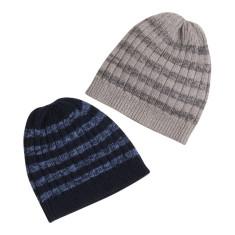 Stripey wool beanie grey + navy