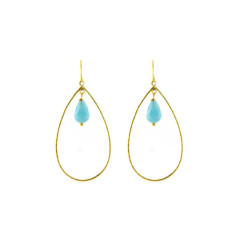 Aqua pear earrings