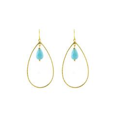 Aqua pear earrings
