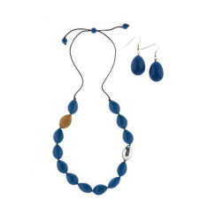 Atlantis Pod Necklace + Drop Earrings Set Marine Blue