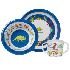 Tyrrell Katz Dinosaur Melamine Dinner Set with Training Cup