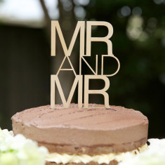 Timber Mr and Mr contemporary wedding cake topper