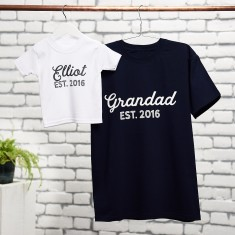 Personalised Grandad And Child T Shirt Set