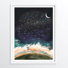 Customised Night Sky Wall Art - Customise the night sky to any date or location