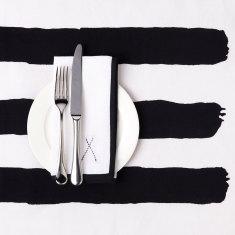 Black & white stripe tablecloth