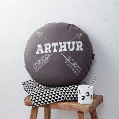 Personalised Grey Round Arrows Cushion