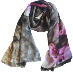 Orchid silk scarf with wool backing