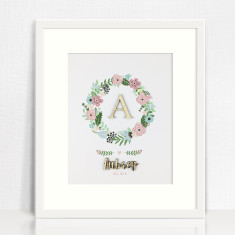 Bamboo Wreath Personalised Name Print