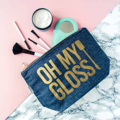 Oh My Gloss Gold And Denim Makeup Case