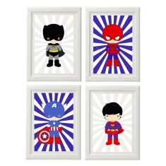 Superhero prints (set of 4)
