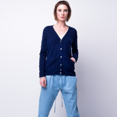 Take me anywhere cashmere cardigan in sailor blue