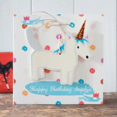 Wooden Unicorn Horse Greeting Card