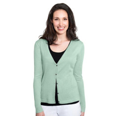 Silk Cashmere Cardigan with Pointelle Detail - Sage