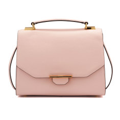 Vix trapeze leather shoulder bag (dusty pink)