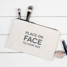 Place on face to look ace make up pouch