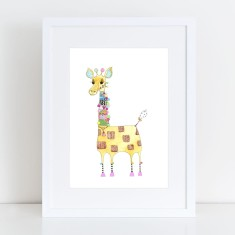 Yarn bombing giraffe - Limited Edition Fine Art Print