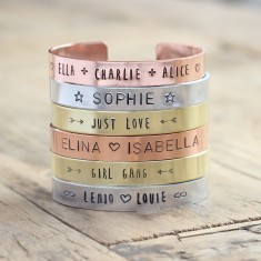 Personalised handmade metal stamped bracelet