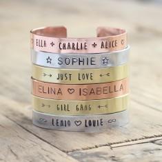 Personalised handmade metal stamped bracelet