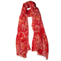 Poppies floral printed scarf in reds