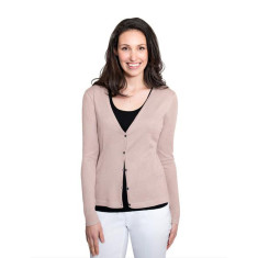 Silk Cashmere Cardigan with Pointelle Detail - Pecan