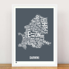Darwin typographic map print