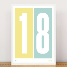 Personalised numbers print in lemon