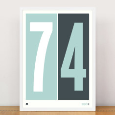 Personalised numbers print in duck egg blue