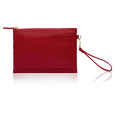 Olivia Clutch with Built-in Phone Charger - Red Leather