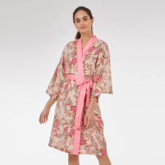 Wrap over kimono in 'Pink Beautiful' Rose print