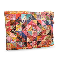 Grandmas Quilt Patchwork Vegan Leather Pouch Clutch Bag