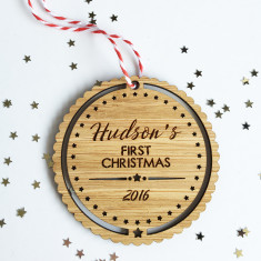 Baby's First Christmas Personalised stars bamboo ornament