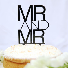 Mr and Mr contemporary wedding cake topper
