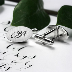 Sterling silver cufflinks engraved with your initials