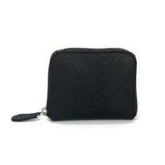 Black python leather card & coin wallet