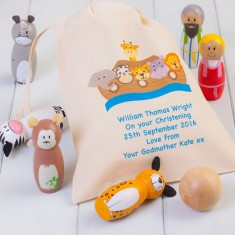 Children's Noahs Ark Skittles And Personalised Bag