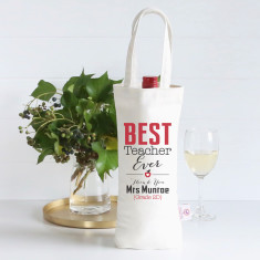 Best teacher ever personalised wine bag