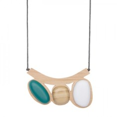 Pebble beach resin and wood adjustable necklace