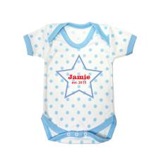 Personalised Star Blue Polka Dot Babygrow