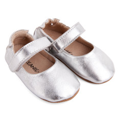 Pre-walker leather lady jane shoe in silver