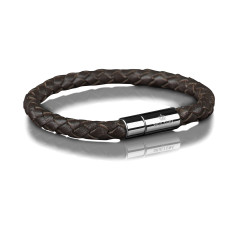 Bracelet 6mm steel in dark brown (small)